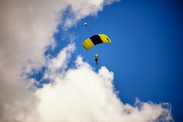 Paraglide silhouette on daylight skyes
