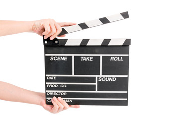 woman holding movie production clapper board isolated on white b