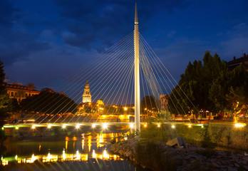 pedestrian bridge over Segura in night. Murcia, Spain