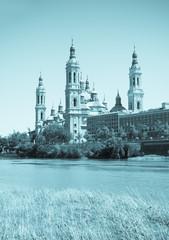 Retro photo of Basilica in Zaragoza