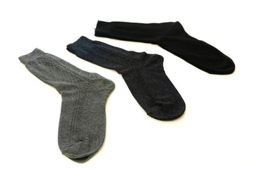 Three sock isolated on a white background