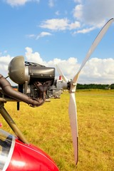 Ultralight plane engine closeup