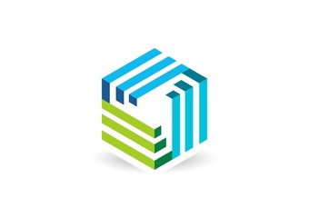 cube geometry logo line 3D vector,construction business