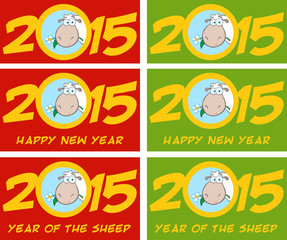 Year Of Sheep 2015 Numbers Green Design Card With Catoon Sheep