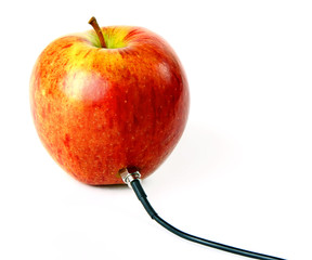 Apple connected to the cord
