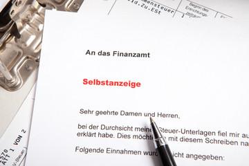 Selbstanzeige Steuer Finanzamt