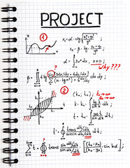 Notepad with a mathematical project with red marks