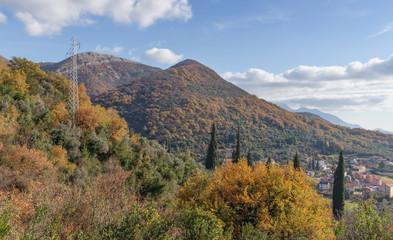 Mountains in autumn.Montenegro,Donja Lastva village