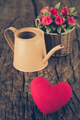 Valentines Day background with hearts and flower (vintage filter