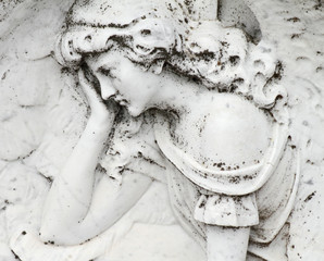 angelic image relief on gravestone