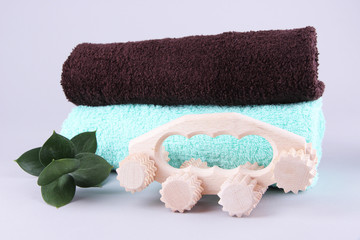 Wooden roller brush, towels and brunch of mint
