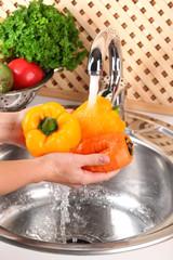 Washing vegetables, close-up
