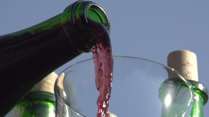 Wine is Pouring From Bottle