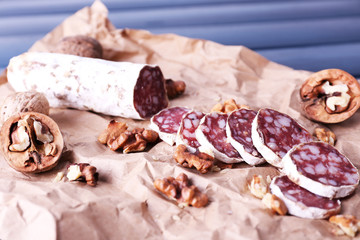 French salami and walnuts