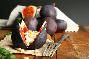 Ripe sweet fig with cottage cheese