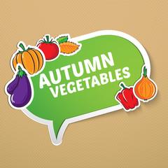 Autumn sticker with vegetables.