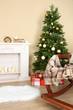 Obrazy na płótnie, fototapety, zdjęcia, fotoobrazy drukowane : Beautiful Christmas interior with fireplace and fir tree