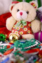 Christmas balls set, new year invitation card