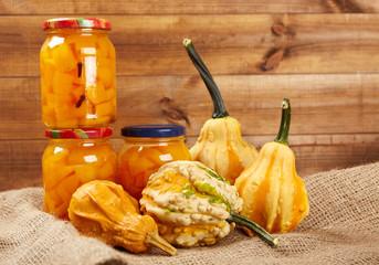 Jars of freshly harvested preserved vegetables