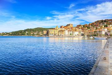 Porto Santo Stefano seafront and village skyline. Argentario, Tu