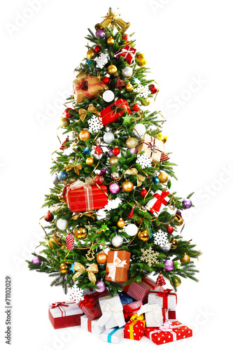 canvas print picture Decorated Christmas tree isolated on white