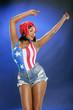 Caribbean girl in star-spangled attire