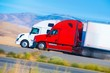 Two Speeding Semi Trucks - 71102294