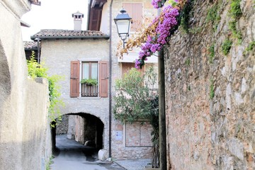 small medieval village on Garda lake in northern Italy