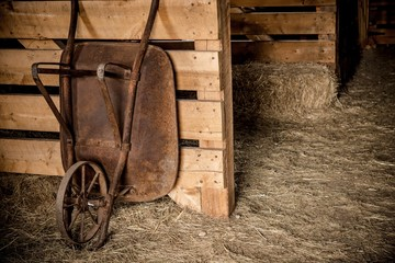 Aged Barrow in the Barn