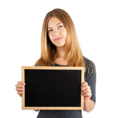 girl holding board