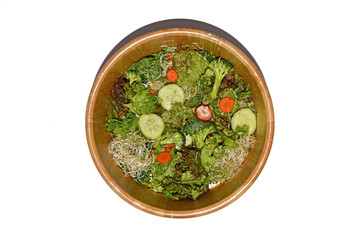 Fresh green salad in salad bowl