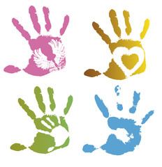Collection of colored imprint hands, illustration on white