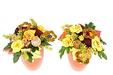 Two flowers bowl with autumn decoration