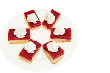 Currant dessert on a plate, right you can write some text