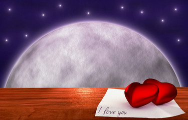 red hearts on wooden table - moon background