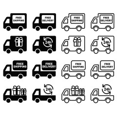 icon delivery black & white