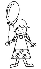 girl and balloon, coloring