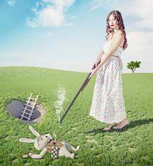 Alice kills white rabbit