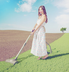 woman cleaning  grass