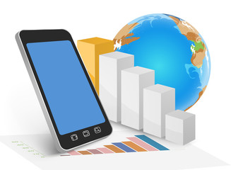 Business on mobile,technology background
