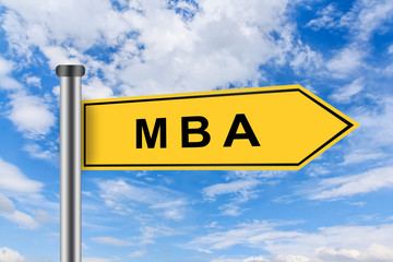 MBA or Master of Business Administration road sign