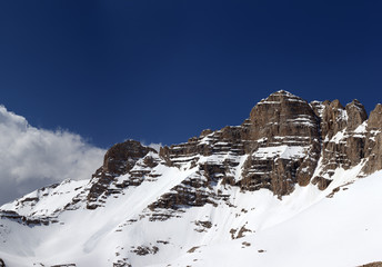 Panorama of snowy rocks in nice spring day