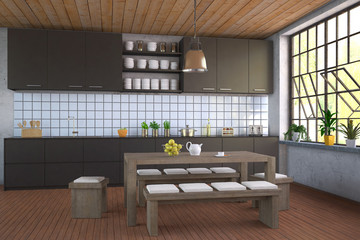 Modern Black Kitchen - Shot 1