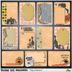 Vector set: tags, label and sticker on a theme of Halloween