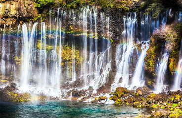 Shiraito no Taki waterfall with rainbow