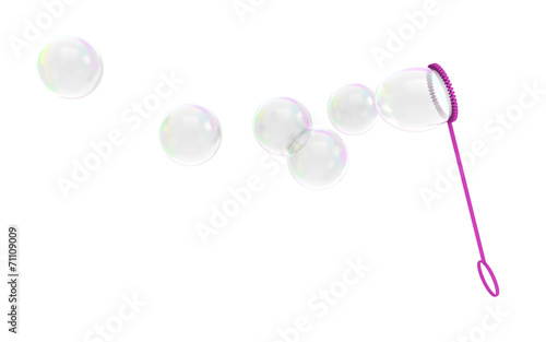 Bubble wand childrens toy blowing soapy bubbles into the air - 71109009