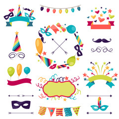 Celebration carnival set of icons, decorations and objects.