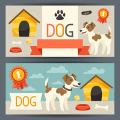 Horizontal banners with cute dog, icons and objects.