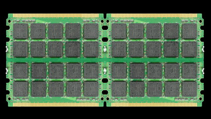 Computer ram chips with binary code.