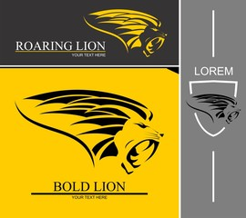 Sideview roaring lion head combine with text